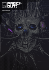 Cover image of Paged Out! issue 2 depicting a cyborg skull with violet-glowing electronic parts and blue-glowing eyes, with a lot of wires going out of - or into - the skull from the blackness of background. In the top left corner there is the magazine's logo - an icon of an old computer and text saying Paged Out! in capital letters.